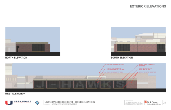 UHS Fitness Center Exterior Elevations_site